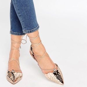 LORDSHIP Lace Up Rose Gold Pointed Ballet Flats